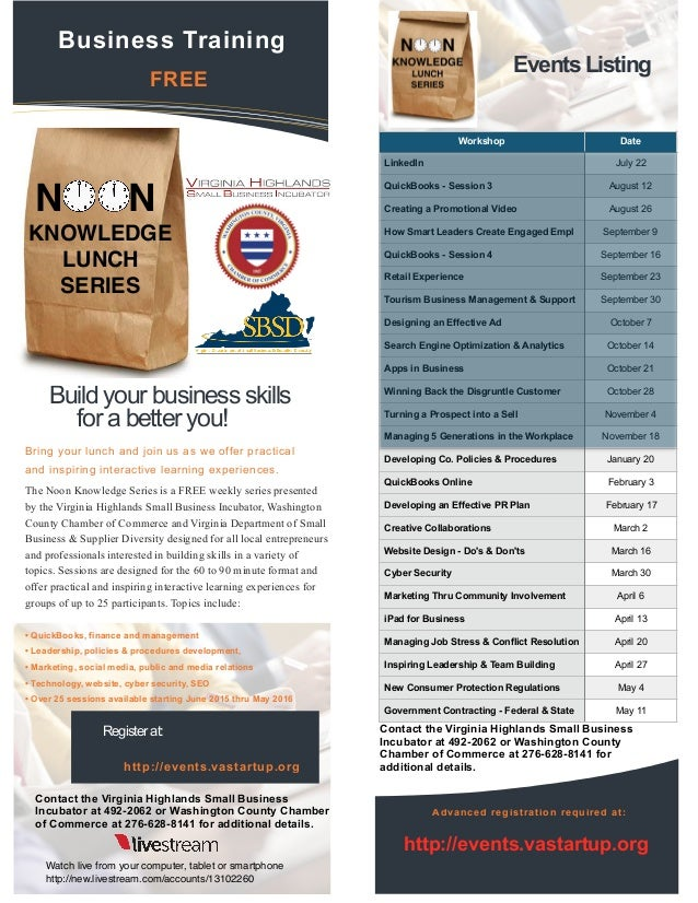 The Noon Knowledge Series is a FREE weekly series presented by the Virginia Highlands Small Business Incubator, Washington...