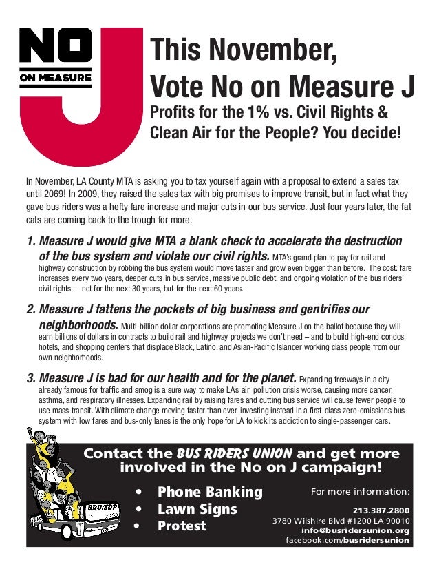 This November,                                      Vote No on Measure J                                      Profits for ...