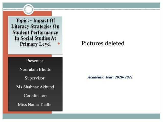 impact of literacy strategies on student performance in social studies at primary level by noor bhutto 1 638
