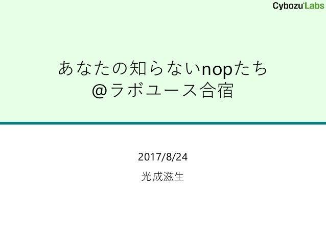あなたの知らないnopたち @ラボユース合宿 2017/8/24 光成滋生
