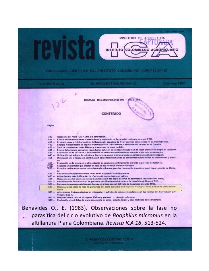 Benavides O., E. (1983). Observaciones sobre la fase no    parasítica del ciclo evolutivo de Boophilus microplus en la    ...