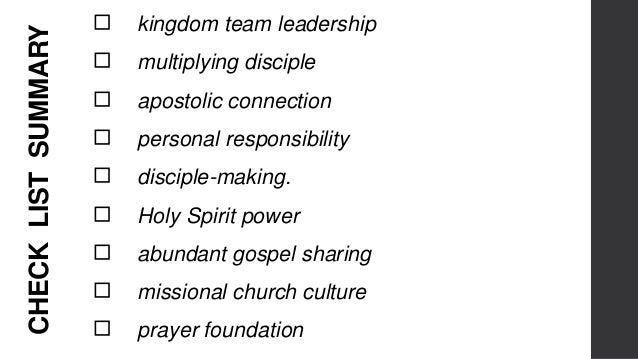 """QUESTIONS ◻ KINGDOM TEAM LEADERSHIP: do we have a team of leaders and is it a """"kingdom of God"""" team? ◻ MULTIPLYING DISCIPL..."""