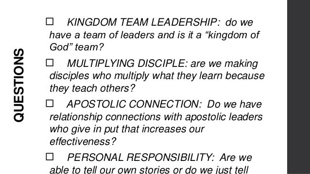 QUESTIONS ◻DISCIPLE-MAKING: are we actually helping people to get closer to Jesus or do they just rely on us or the progra...