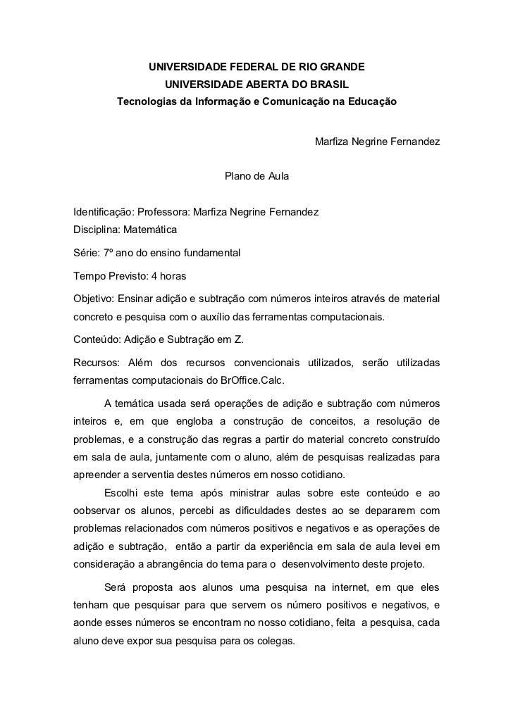 UNIVERSIDADE FEDERAL DE RIO GRANDE                   UNIVERSIDADE ABERTA DO BRASIL         Tecnologias da Informação e Com...