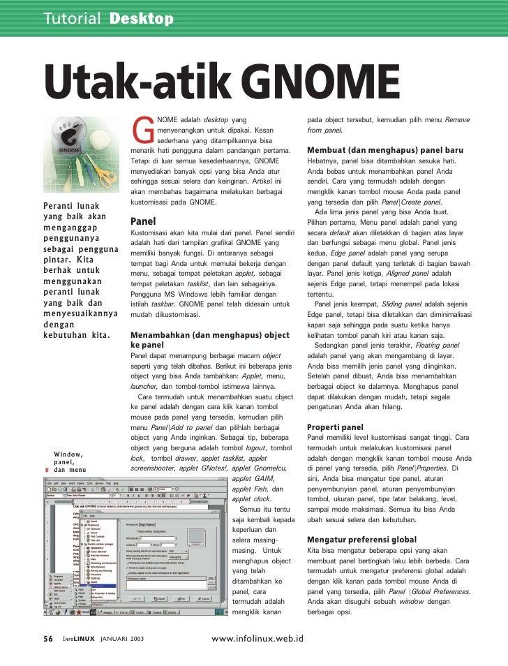 Tutorial Desktop    Utak-atik GNOME                          G                                  NOME adalah desktop yang  ...