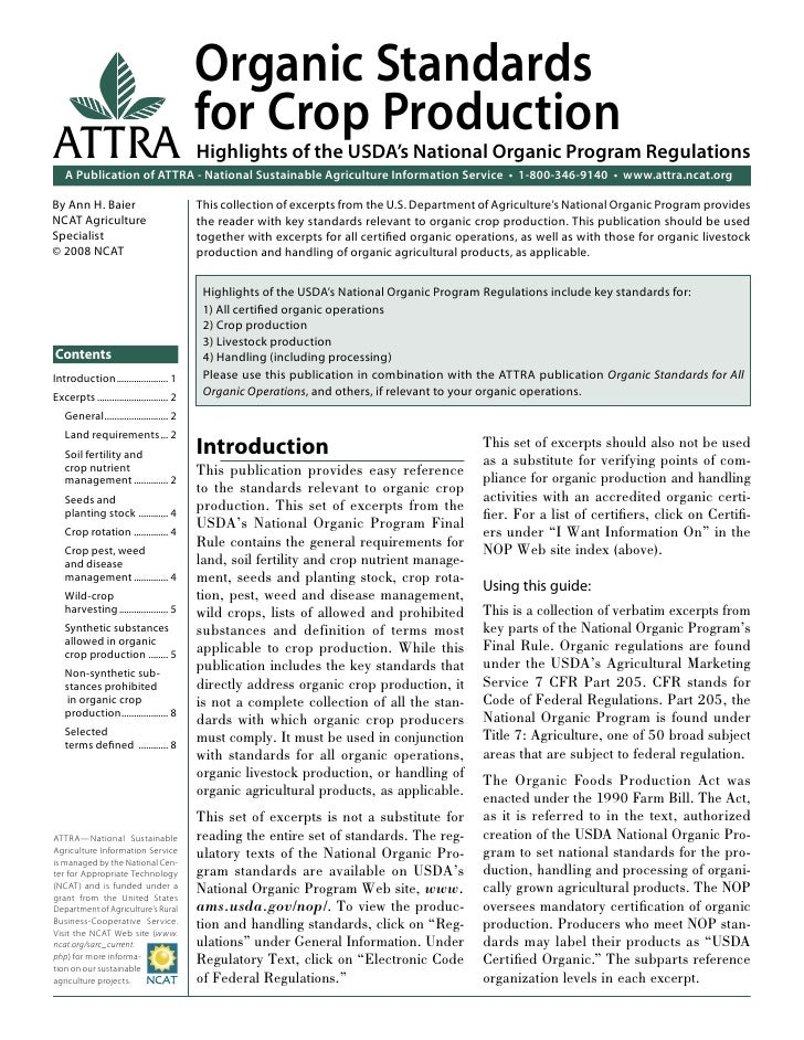 Organic Standards                                           for Crop ProductionATTRA                                      ...