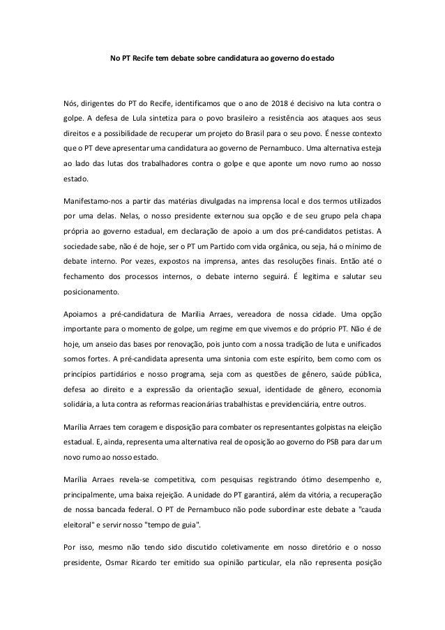 No PT Recife tem debate sobre candidatura ao governo do estado Nós, dirigentes do PT do Recife, identificamos que o ano de...