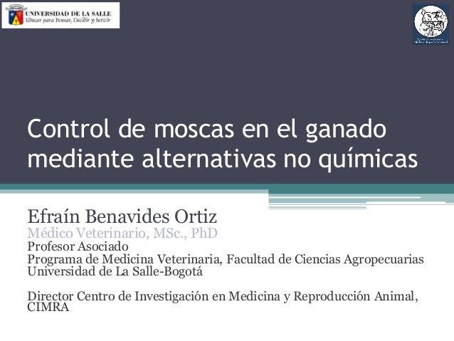 Control de moscas en el ganado mediante alternativas no químicas Efraín Benavides Ortiz Médico Veterinario, MSc., PhD Prof...