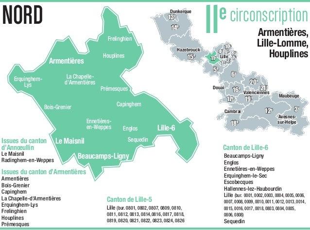 carte des circonscriptions du nord Carte de la 11e circonscription du Nord