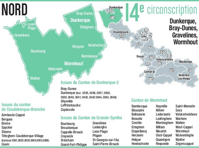 carte des circonscriptions du nord Carte de la 14e circonscription du Nord