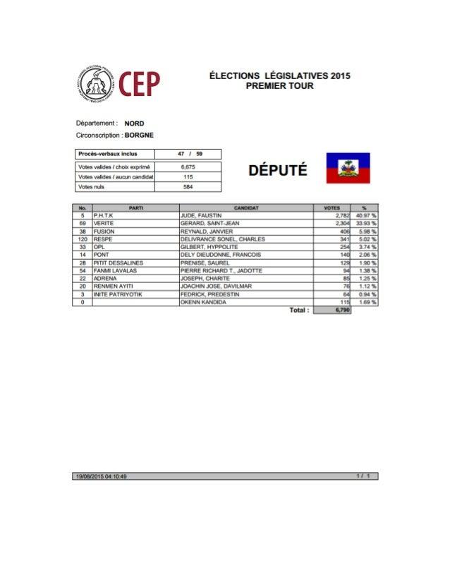 Résultats Préliminaires Législatives 2015 ( Député ) - Département Nord Slide 2