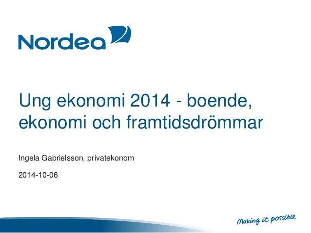 Ung ekonomi 2014 - boende,  ekonomi och framtidsdrömmar  Ingela Gabrielsson, privatekonom  2014-10-06