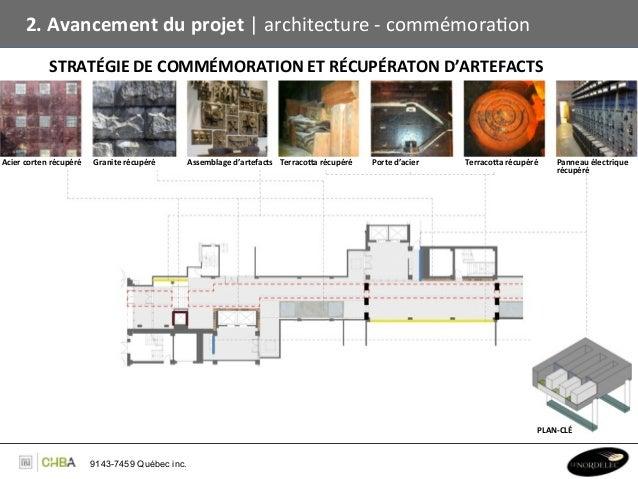 2. Avancement du projet   architecture -‐ commémoraBon                   STRATÉGIE DE COMMÉMORATION ...