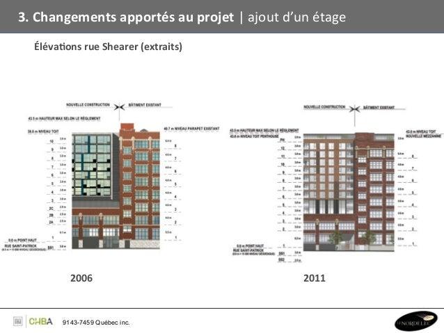 3. Changements apportés au projet   ajout d'un étage    Éléva,ons rue Shearer (extraits)        ...