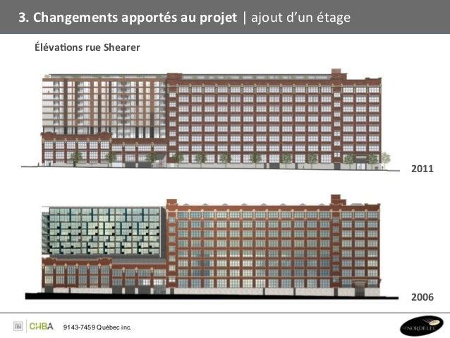 3. Changements apportés au projet   ajout d'un étage    Éléva,ons rue Shearer                     ...
