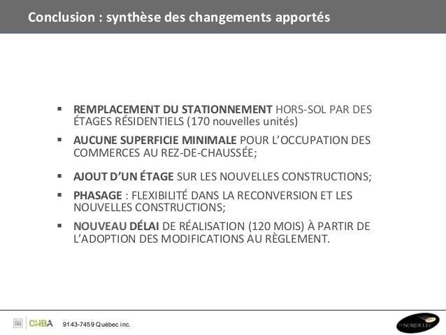 Conclusion : synthèse des changements apportés          § REMPLACEMENT DU STATIONNEMENT HORS-‐...