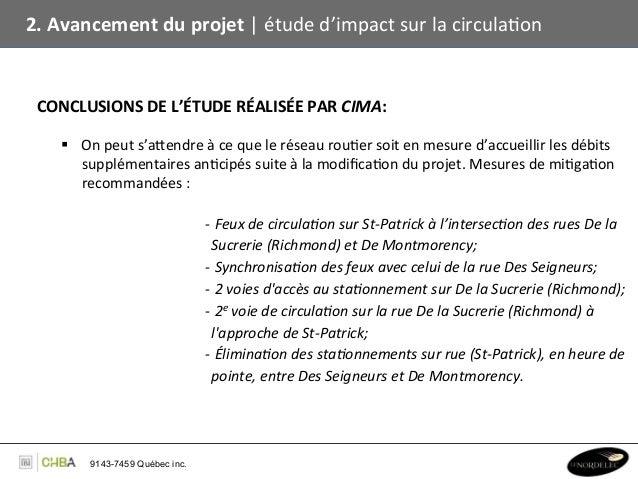 2. Avancement du projet   étude d'impact sur la circulaBon  CONCLUSIONS DE L'ÉTUDE RÉALISÉE PA...