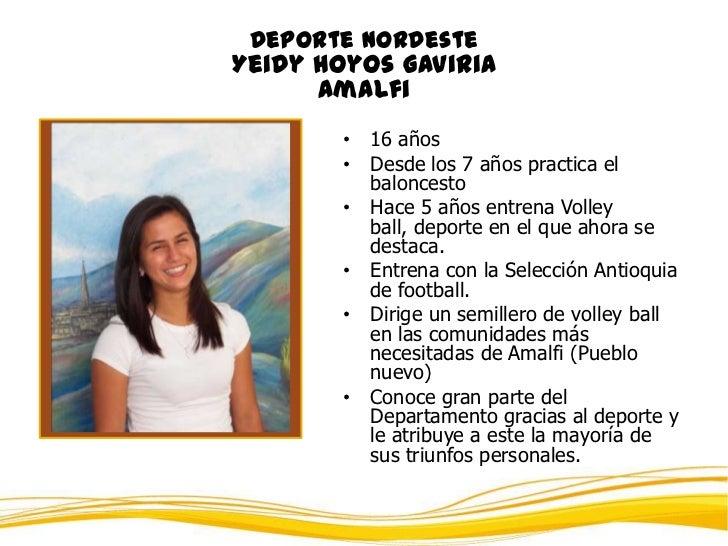 Deporte NordesteYeidy Hoyos Gaviria      Amalfi       • 16 años       • Desde los 7 años practica el         baloncesto   ...
