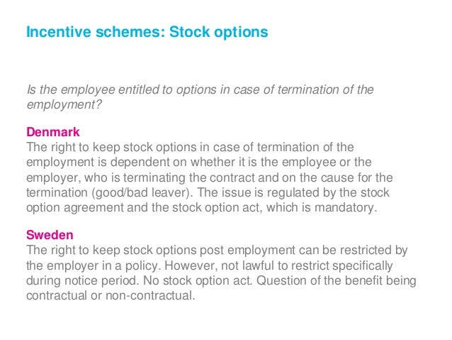 Stock options termination of employment