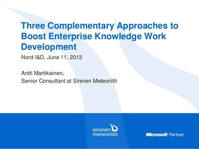 Three Complementary Approaches toBoost Enterprise Knowledge WorkDevelopmentNord I&D, June 11, 2013Antti Martikainen,Senior...