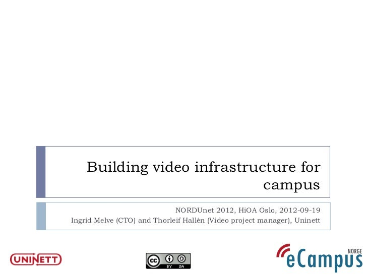 Building video infrastructure for                             campus                             NORDUnet 2012, HiOA Oslo,...