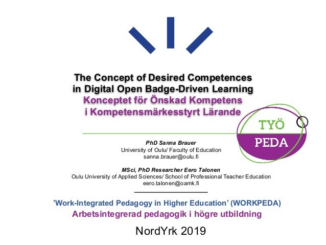 The Concept of Desired Competences in Digital Open Badge-Driven Learning Konceptet för Önskad Kompetens i Kompetensmärkess...