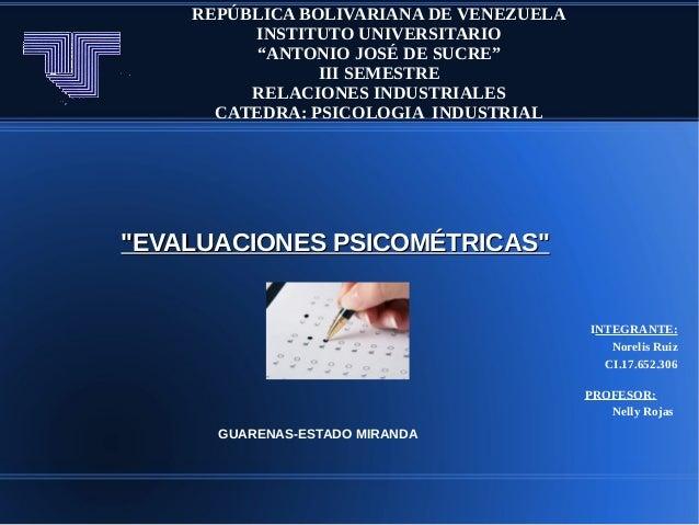 """REPÚBLICA BOLIVARIANA DE VENEZUELAINSTITUTO UNIVERSITARIO""""ANTONIO JOSÉ DE SUCRE""""III SEMESTRERELACIONES INDUSTRIALESCATEDRA..."""