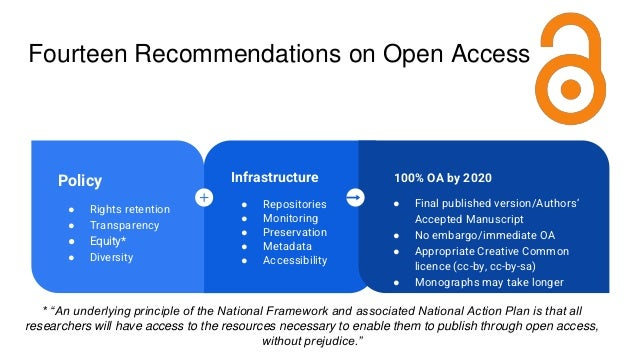 Fourteen Recommendations on Open Access 100% OA Infrastructure ● Repositories ● Monitoring ● Preservation ● Metadata ● Acc...