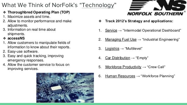 """What We Think of NorFolk's """"Technology"""" ❖ Track 2012's Strategy and applications: 1. Service → """"Intermodal Operational Das..."""