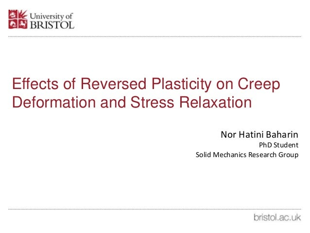 Effects of Reversed Plasticity on Creep Deformation and Stress Relaxation Nor Hatini Baharin PhD Student Solid Mechanics R...