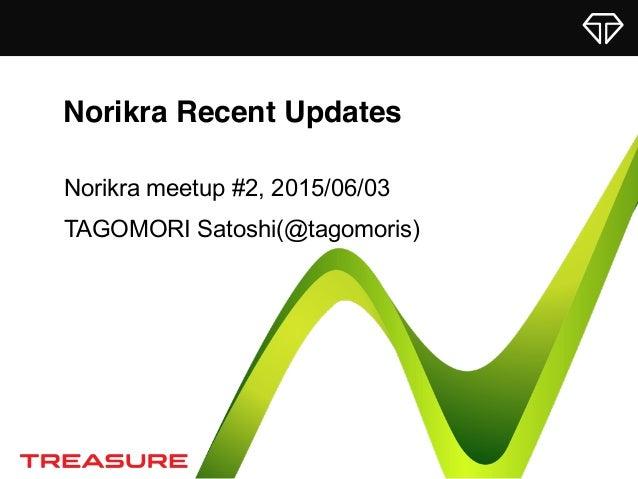Norikra Recent Updates Norikra meetup #2, 2015/06/03 TAGOMORI Satoshi(@tagomoris)