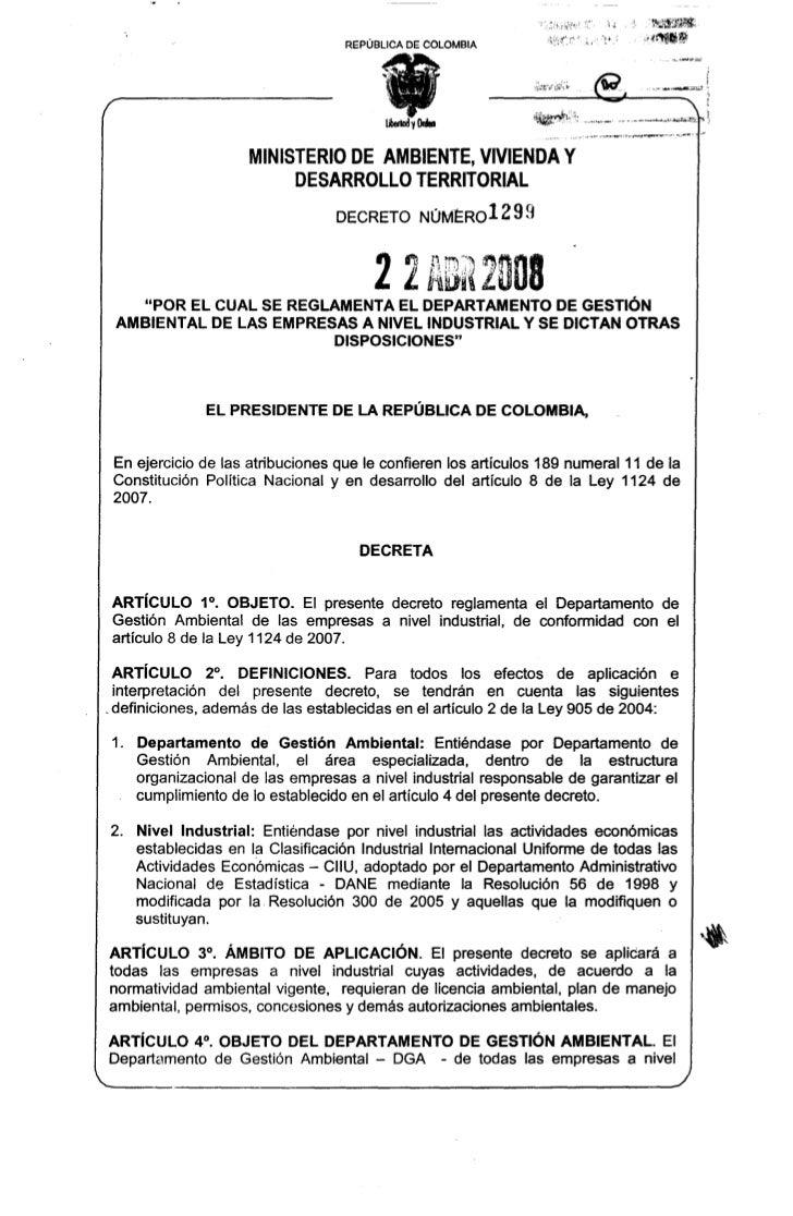 REPÚBLICA   DE COLOMBIA                       MINISTERIODE AMBIENTE, VIVIENDA Y                            DESARROLLOTERRI...