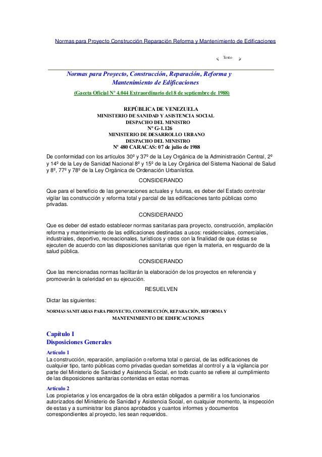 Normas para Proyecto Construcción Reparación Reforma y Mantenimiento de Edificaciones Texto Normas para Proyecto, Construc...