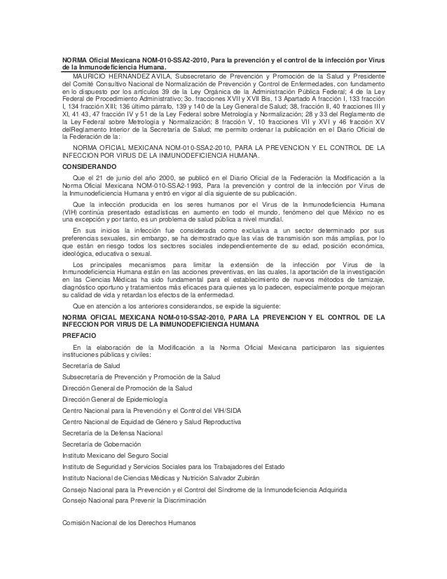 NORMA Oficial Mexicana NOM-010-SSA2-2010, Para la prevención y el control de la infección por Virus de la Inmunodeficienci...
