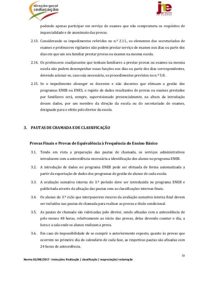 10 Norma02/JNE/2017‐Instruções:Realização classificação reapreciação reclamação podendo apenas participar em...