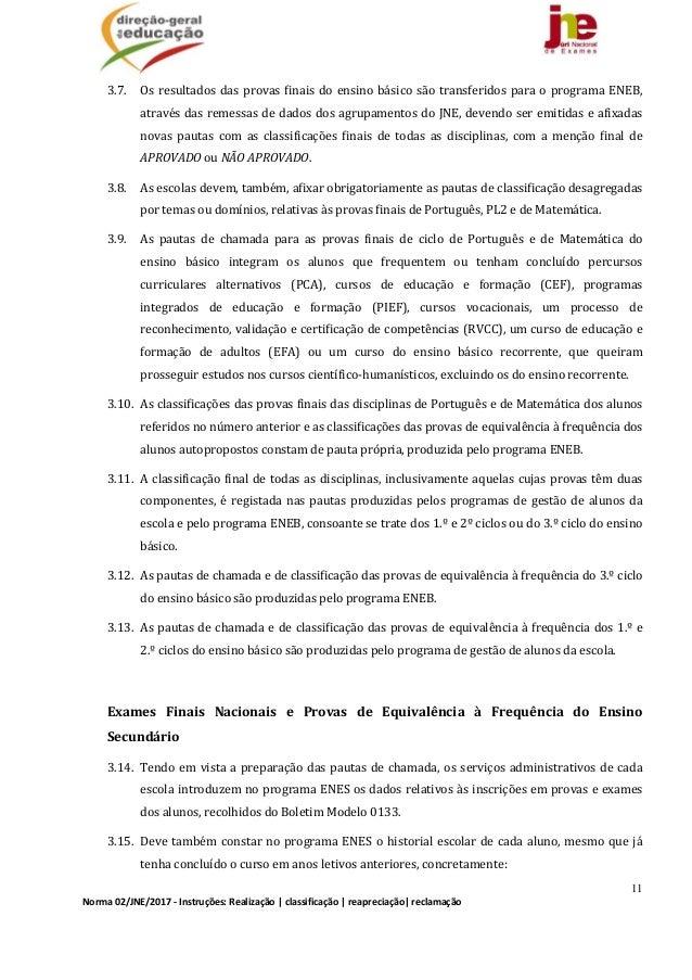 11 Norma02/JNE/2017‐Instruções:Realização classificação reapreciação reclamação 3.7. Osresultadosdasprovasfi...