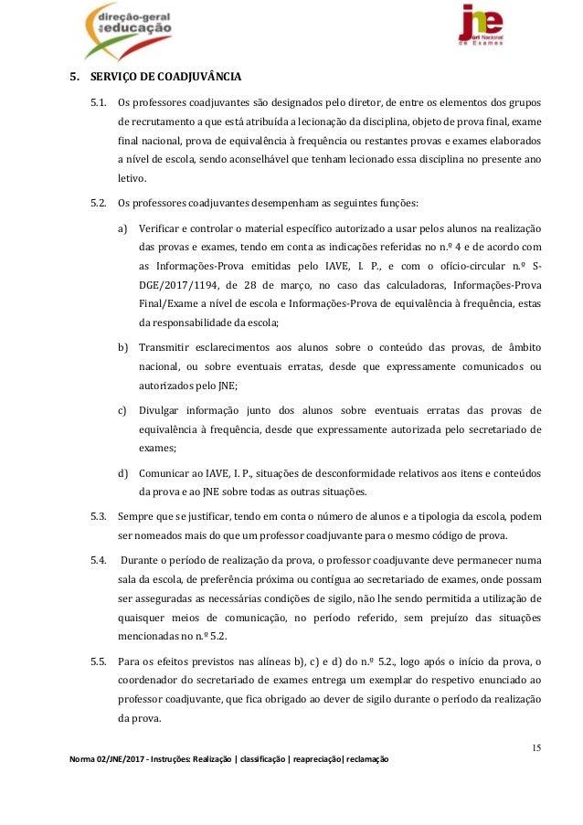 15 Norma02/JNE/2017‐Instruções:Realização classificação reapreciação reclamação 5. SERVIÇODECOADJUVÂNCIA 5.1....