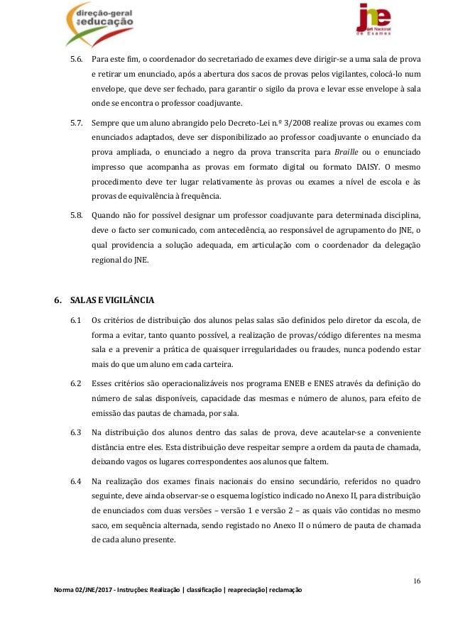 16 Norma02/JNE/2017‐Instruções:Realização classificação reapreciação reclamação 5.6. Paraestefim,ocoordenado...