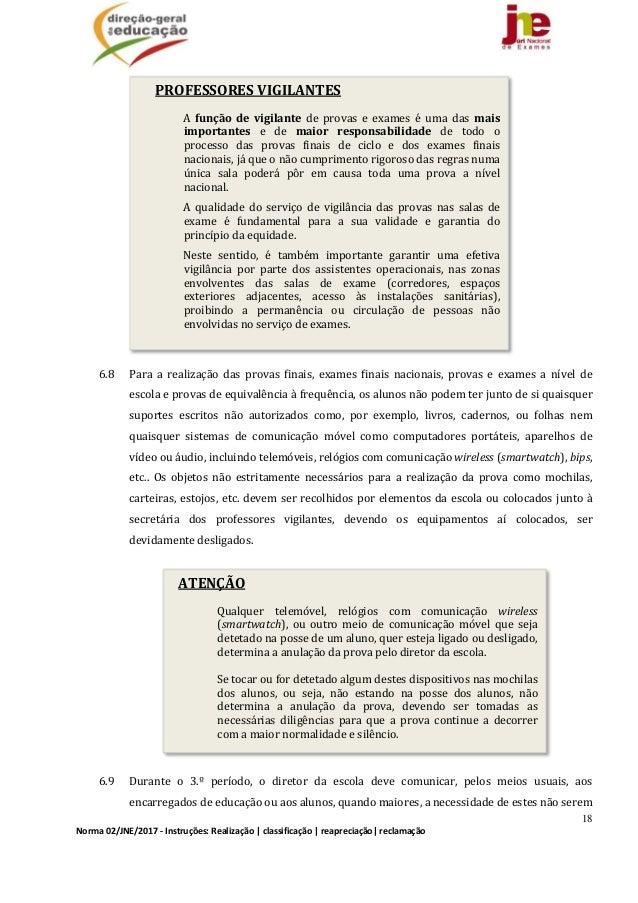 18 Norma02/JNE/2017‐Instruções:Realização classificação reapreciação reclamação PROFESSORESVIGILANTES A função...