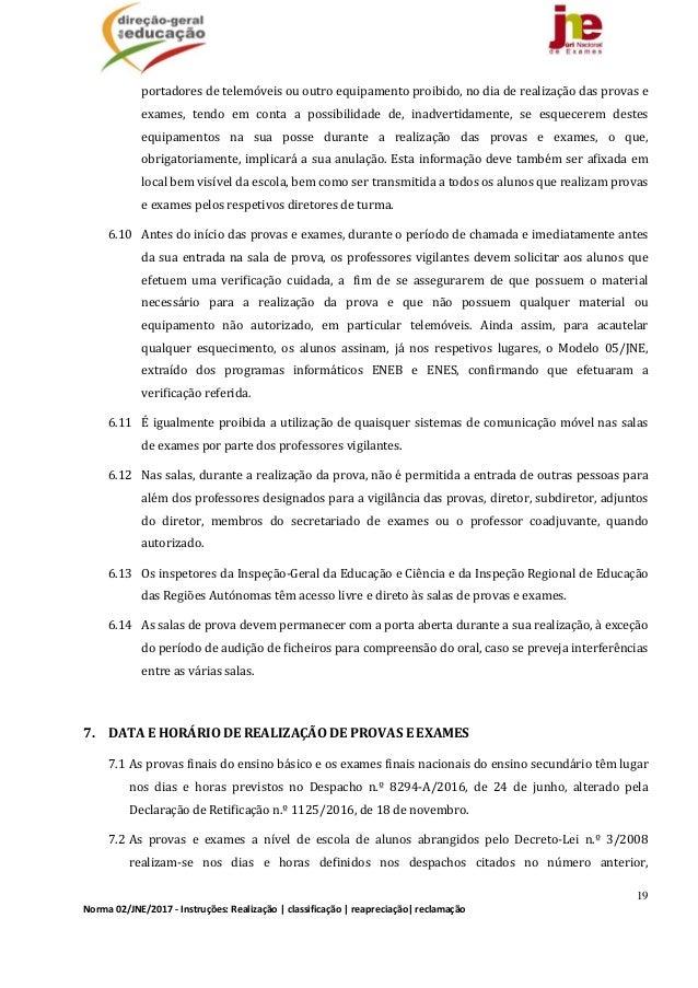 19 Norma02/JNE/2017‐Instruções:Realização classificação reapreciação reclamação portadoresdetelemóveisououtr...