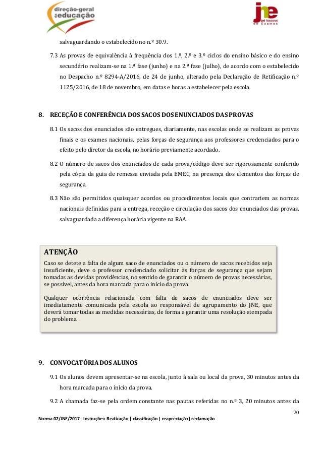 20 Norma02/JNE/2017‐Instruções:Realização classificação reapreciação reclamação salvaguardandooestabelecidono...