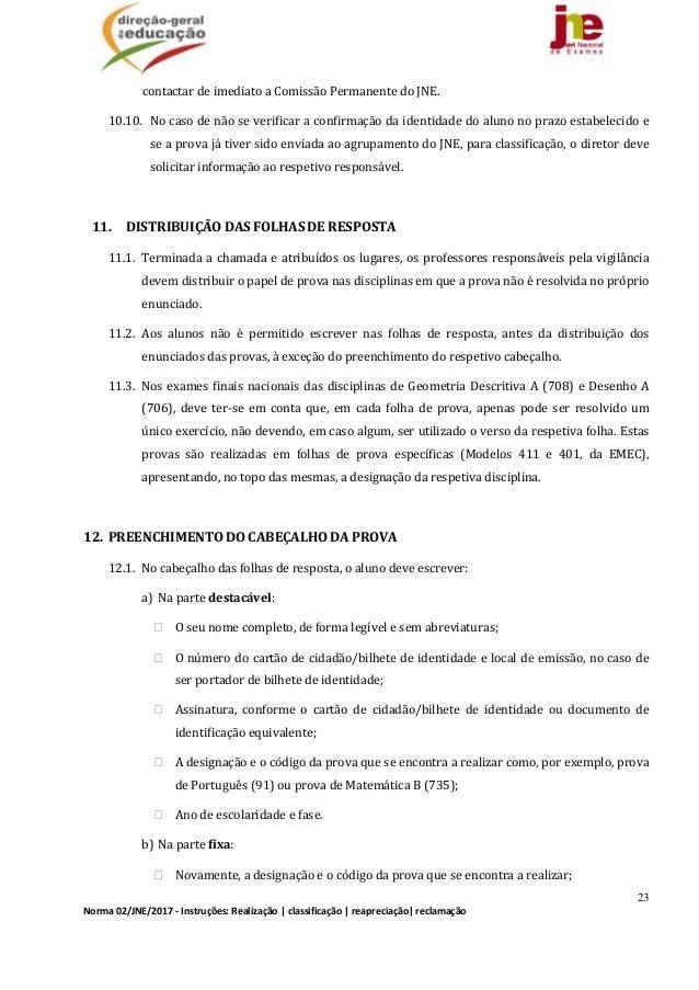 23 Norma02/JNE/2017‐Instruções:Realização classificação reapreciação reclamação contactardeimediatoaComissão...