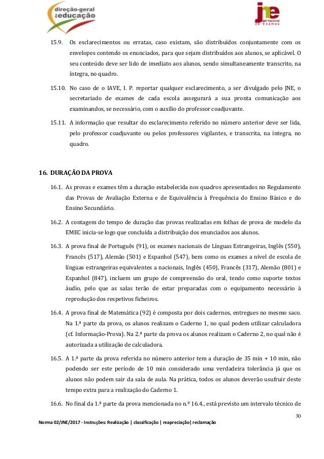 30 Norma02/JNE/2017‐Instruções:Realização classificação reapreciação reclamação 15.9. Os esclarecimentos ou e...