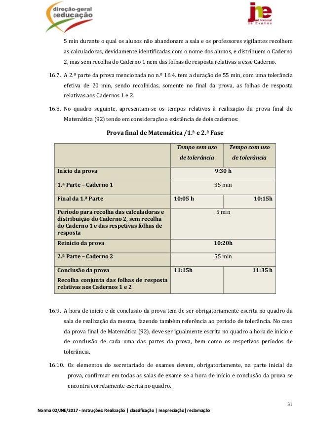 31 Norma02/JNE/2017‐Instruções:Realização classificação reapreciação reclamação 5minduranteoqualosalunosn...