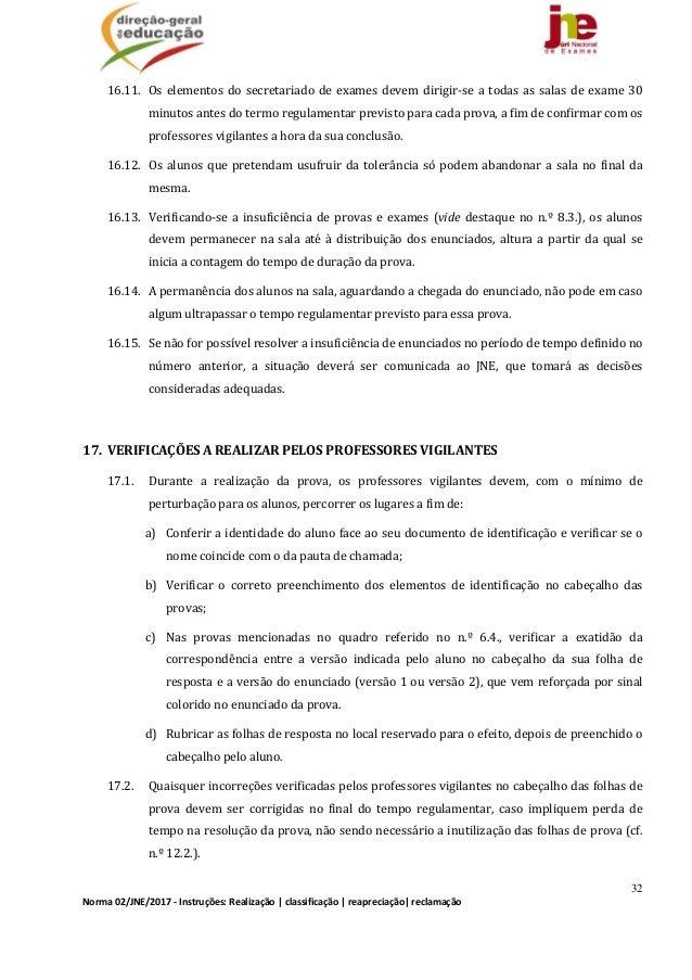 32 Norma02/JNE/2017‐Instruções:Realização classificação reapreciação reclamação 16.11. Oselementosdosecretari...