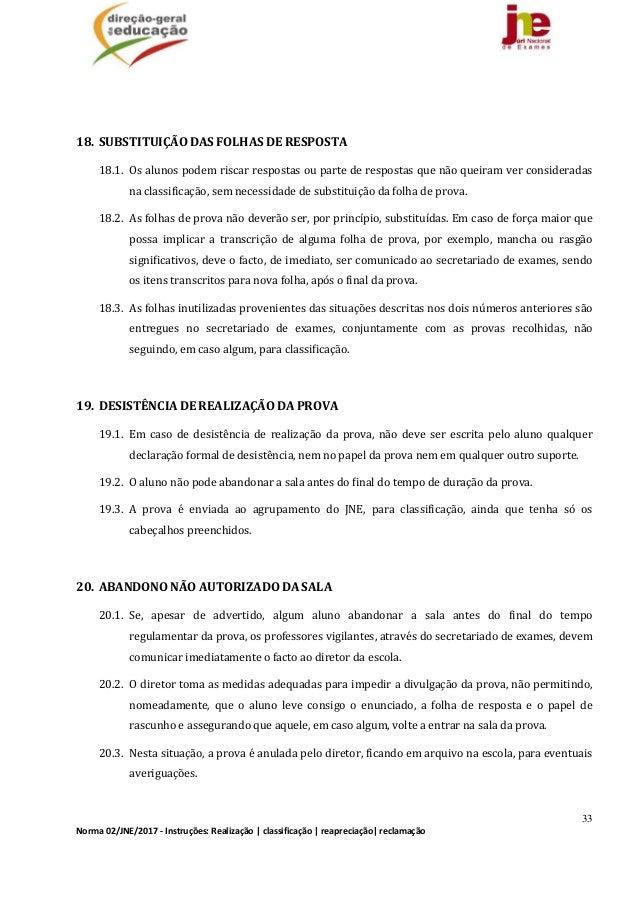 33 Norma02/JNE/2017‐Instruções:Realização classificação reapreciação reclamação   18. SUBSTITUIÇÃODASFOLHAS...
