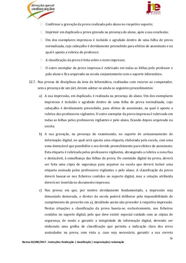 36 Norma02/JNE/2017‐Instruções:Realização classificação reapreciação reclamação Confirmaragravaçãodaprovare...