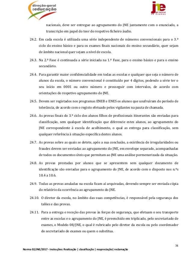 38 Norma02/JNE/2017‐Instruções:Realização classificação reapreciação reclamação nacionais,deveserentregueao...