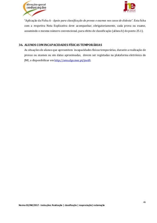 """46 Norma02/JNE/2017‐Instruções:Realização classificação reapreciação reclamação """"AplicaçãodaFichaA‐Apoiopa..."""