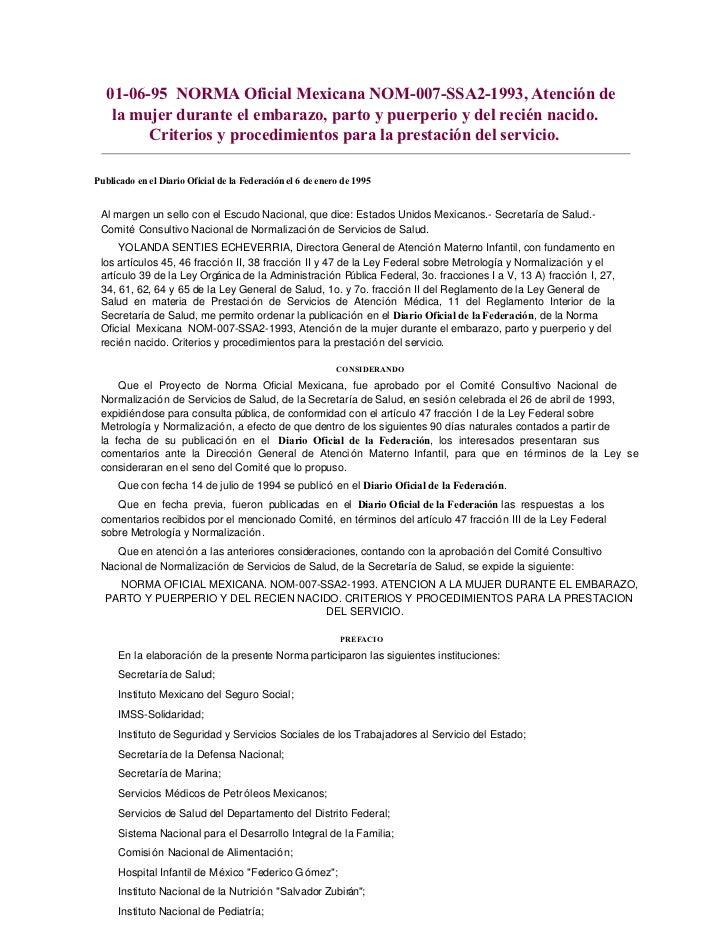 01-06-95 NORMA Oficial Mexicana NOM-007-SSA2-1993, Atención de   la mujer durante el embarazo, parto y puerperio y del rec...